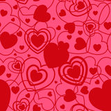 Red Heart shape seamless background. Template valentine greeting card Stock Photos