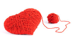 Red heart shape symbol made from wool Royalty Free Stock Image