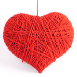 Red heart shape symbol made from wool Stock Photos