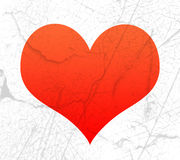 Red heart shape with texture Stock Image