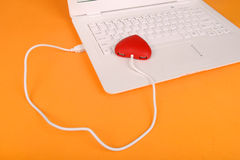 Red heart shape of  USB hub Royalty Free Stock Photos