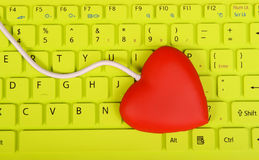 Red heart shape of USB hub Stock Photo