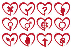 Red Heart Shape Vector Icon Set Stock Photography