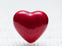 Red heart shape on wicker. Symbol of love Royalty Free Stock Image