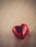Red heart shape On Wood table Royalty Free Stock Image