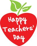Happy teacher`s day apple. Red heart shaped apple with the words Happy Teachers` Day Stock Image