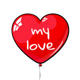 Red heart shaped balloon. labeled my love. Suitable for March 8, Valentine`s Day, birthday, wedding Royalty Free Stock Photo