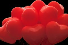 Red heart shaped balloons. Balloons in heart shape Royalty Free Stock Photos