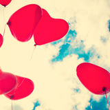 Red Heart-shaped balloons Stock Photos