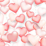 Red heart shaped balloons seamless pattern, Valentine `s day bac Stock Photography