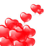 Red heart shaped balloons. Valentine's day symbol. Royalty Free Stock Photo