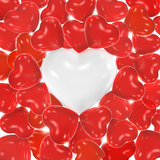 Heart shaped balloons. Red heart shaped balloons with white balloon in the center stock images
