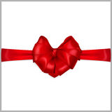 Red Heart-shaped Bow With Ribbons Stock Image