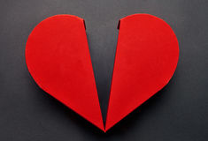Red heart shaped box for chocolate dessert, Valentines day conce Royalty Free Stock Image