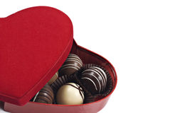 A Red heart shaped box of chocolates Royalty Free Stock Images