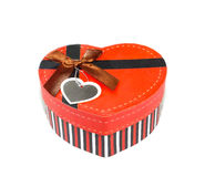 Red  Heart shaped box Stock Image