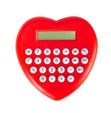 Red heart shaped calculator. Royalty Free Stock Photos
