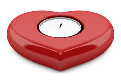 Red heart-shaped candlestick with candle isolated on white Stock Photography