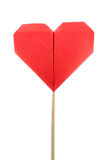 Red heart shaped candy lollipop make from paper Stock Photo