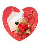Red heart shaped card for valentine's day with white envelope Stock Photography