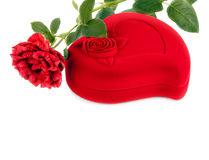 Red heart-shaped casket  and  rose isolated on white background Stock Photos