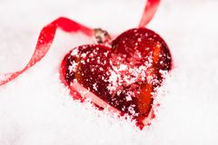 Red Heart Shaped Christmas Bauble Royalty Free Stock Image