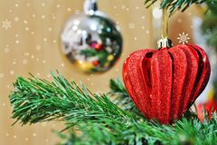 Red heart shaped Christmas decoration on Christmas tree stock image
