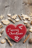 Red Heart shaped Christmas gingerbread Stock Photography