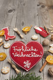 Red Heart shaped Christmas gingerbread Royalty Free Stock Images