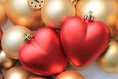 Red heart shaped christmas ornaments Stock Photo