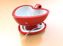 Red heart shaped coffee cup Royalty Free Stock Images
