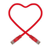Red Heart Shaped Ethernet Network Cable. IT Valentine's Day Royalty Free Stock Photos