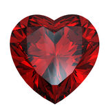Red heart shaped garnet Stock Images