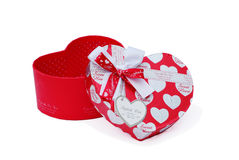 Red heart-shaped gift box Stock Photos