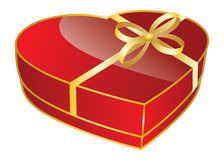 Red heart shaped gift box Royalty Free Stock Photos