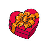 Red heart shaped gift box with bow and ribbon. Red hand-drawn heart-shaped gift box with bow and ribbon, sketch style vector illustration  on white background Royalty Free Stock Image