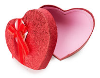 Red heart-shaped gift box isolated on the white background Royalty Free Stock Photo