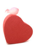Red Heart-shaped Gift Box with Rose petal Royalty Free Stock Photography