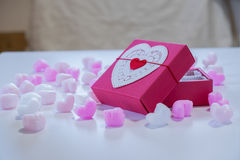 Red heart shaped gift box Stock Photo
