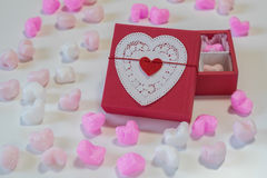Red heart shaped gift box Stock Images