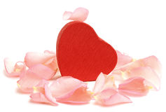 Red Heart-shaped Gift Box With Rose Petals Royalty Free Stock Images