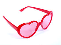 Red Heart shaped glasses Stock Images