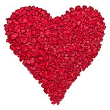 Red heart shaped by gravels Stock Photos