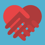 Red heart shaped handshake Stock Images