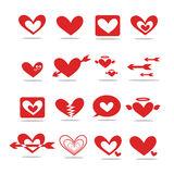 A red heart-shaped icon 2D stock photo