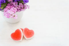 Red heart shaped jelly Royalty Free Stock Photography