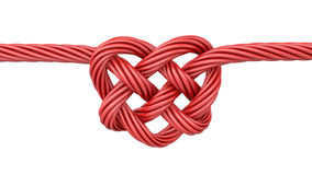 Red heart shaped knot. Isolated on white background Stock Photos