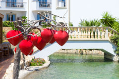Red heart shaped lamps royalty free stock photography