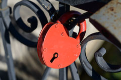 Red heart-shaped lock Stock Photo