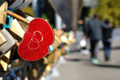 Red Heart Shaped Lock Concept of Love Royalty Free Stock Photography